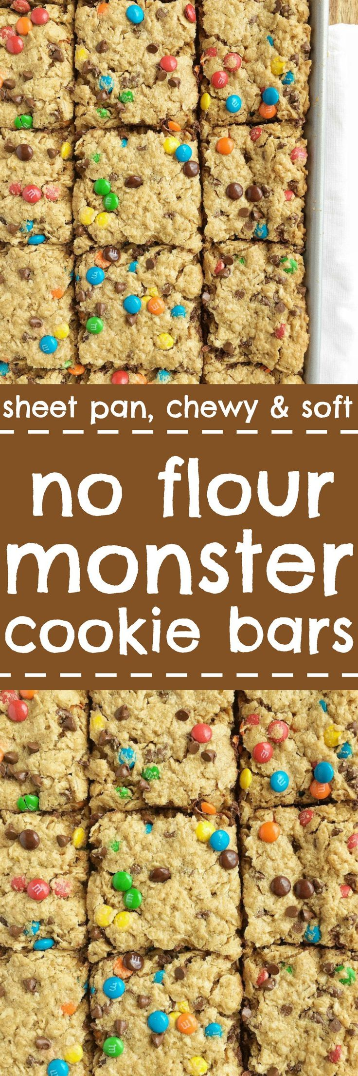 No flour monster cookie bars - Loaded with peanut butter, oats, chocolate chips, m&m's. These no flour monster cookie bars bake on a sheet pan and are the most delicious cookie bar you'll ever have. Plus, there is NO FLOUR! My most popular recipe that everyone LOVES | togetherasfamily.com