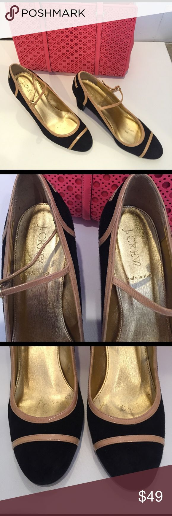 "J.Crew Spencer Patant Trimmed Suede Mary Jane Spencer Patent-trimmed suede Mary Janea from j.crew. Italian made!  Excellent Condition only few marks on the sole as pictured.  Retailed at $265 heel 3.5"".  They run slightly smaller so they're more 8.5-9 in Size.  Reasonable offers welcome 😊 J. Crew Shoes Heels"
