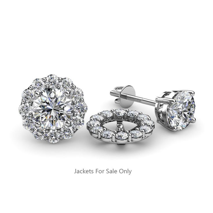 Diamond Halo Jacket For Stud Earrings Si2 I1 G H 0 54 Ct Tw 14k Gold Jp 56603