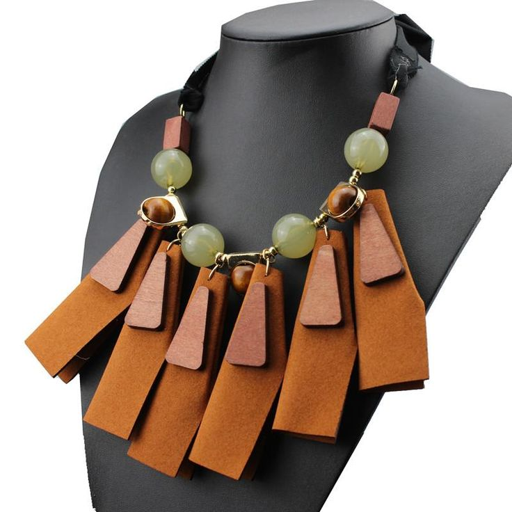 Fashion za Brand Brown Artificial Leather Irregular Wooden Choker Tassel Necklace for Women  $19.99     #love #sweet #dress #styles #shopping #style #ootd #glam #model #stylish #cute #iwant #fashion #beauty #fashionista