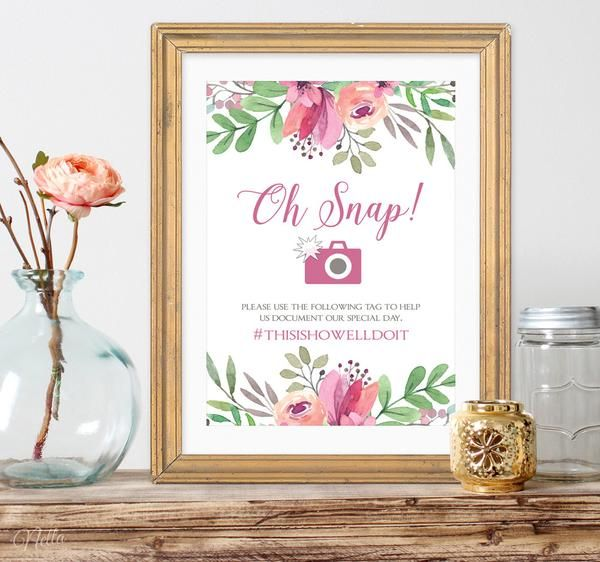Oh Snap! A funny wedding sign to display your wedding hashtag for social media and featuring beautiful pastel wedding colors. This listing is for a PRINTABLE la