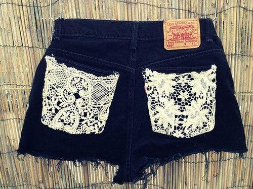 levi's shorts, i like: Idea, Fashion, Style, Dream Closet, Clothes, Lace Pockets, Shorts, Diy