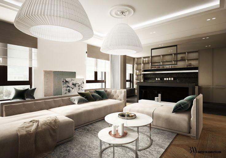 Salon z widokiem na beżową kanapę, lampy AxoBell i dwa nowoczesne stoliki kawowe. http://bartekwlodarczyk.com/