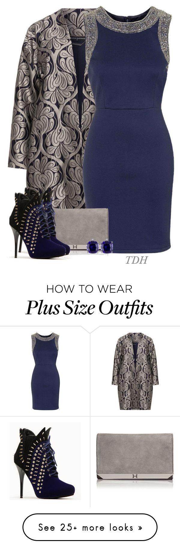 """Blue & Silver"" by talvadh on Polyvore featuring Manon Baptiste, TFNC, Halston Heritage and Miadora"