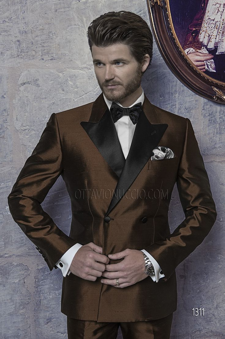 Double-Breasted Wedding Suits in Brown Shantung
