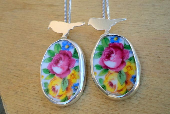Vintage porcelain with bird pendant by Secrets Unearthed Jewellery