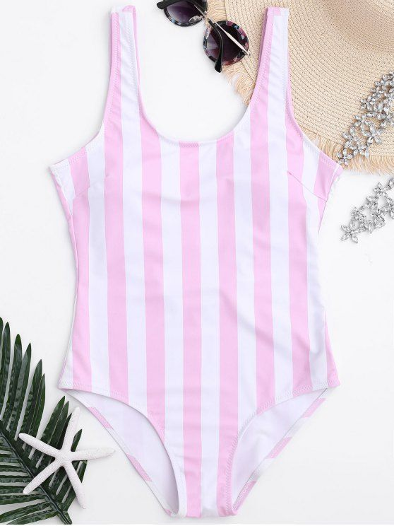 Striped Shaping Padded One Piece Swimsuit - PINK/WHITE S
