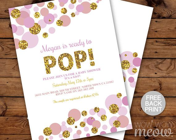 Ready to Pop Baby Shower Invitations Pink Gold by wowwowmeow
