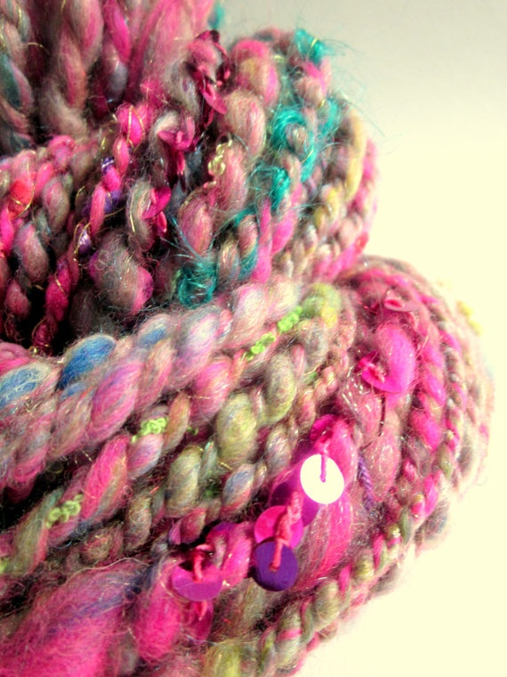 handspun chunky art yarn pinks turquoise gold and by thefibretree sch ne wolle yarn. Black Bedroom Furniture Sets. Home Design Ideas