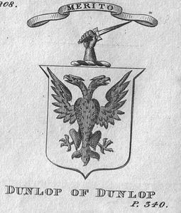Coat of arms of Dunlop of Dunlop.