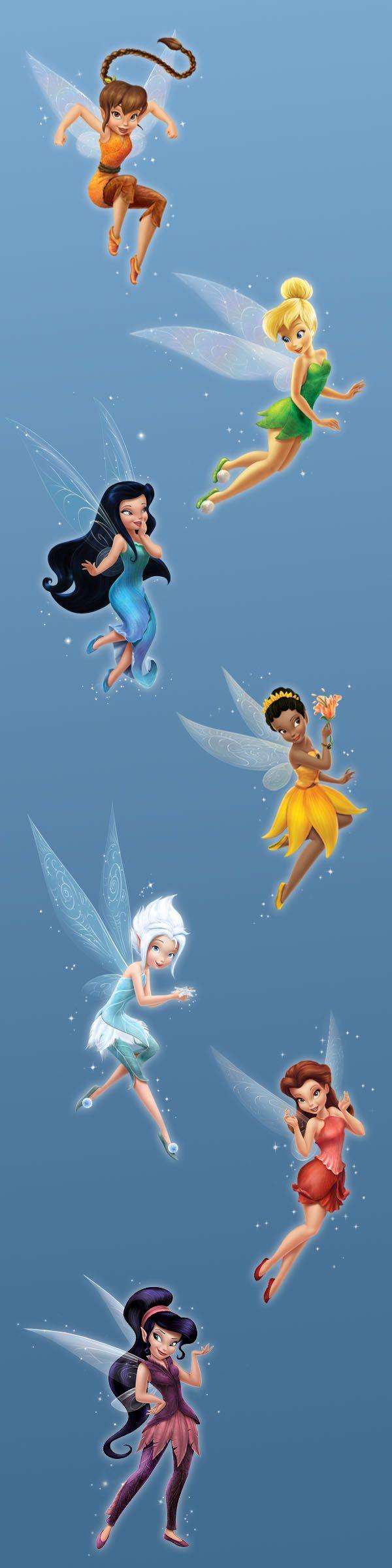 Fawn, Tinker Bell, Silvermist, Iridessa, Periwinkle, Rosetta and Vidia.