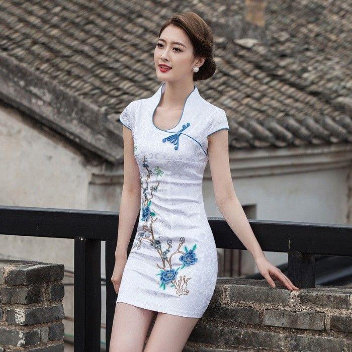 cheongsam blue white