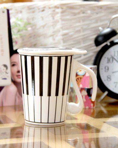 Mugs For The Music Lover Piano Coffee Mug with Lid