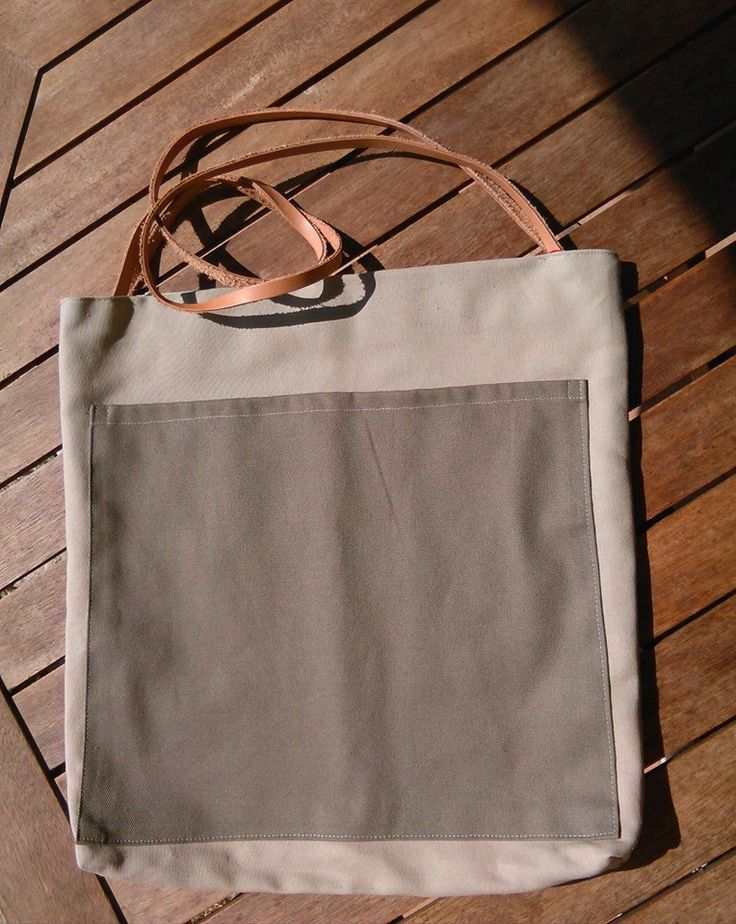 canvas toat bag with leather
