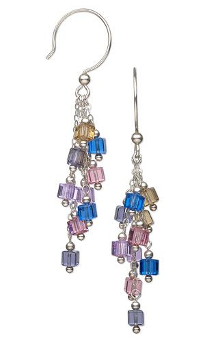Earrings with Swarovski Crystal Beads and Sterling Silver Beads and Chain - Fire Mountain Gems and Beads