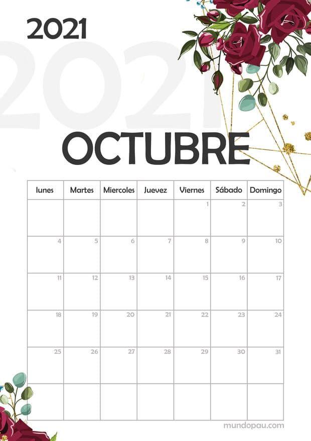 Calendario De Octubre 2021 Calendario de Octubre 2021#calendarios2021 #calendario2021