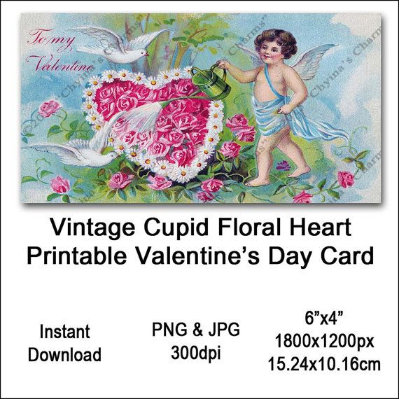 Vintage Cupid Valentines Card Victorian Printable Cupid Floral Flower Heart Clipart Card Instant Download Digital Clip Art Image Vin0015