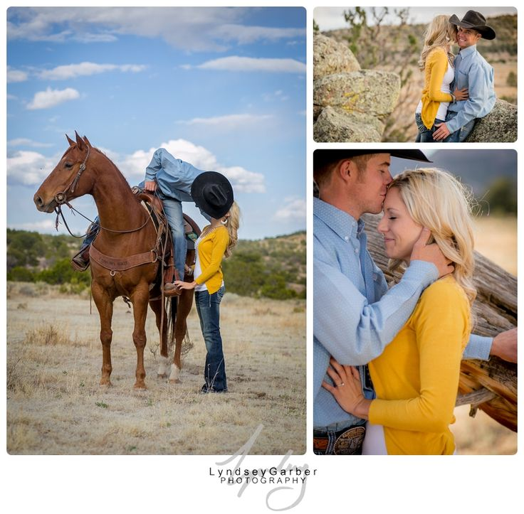 Western engagement, save-the-date photo shoot with horse.