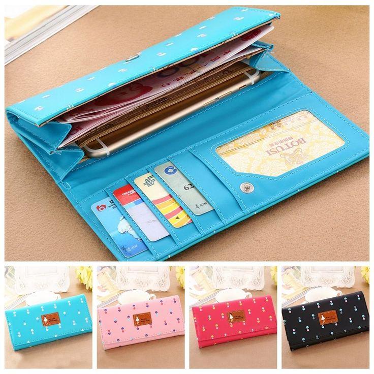 Fashion Women Floral Clutch Envelope Wallet Card Holder Lady Long Purse Handbag