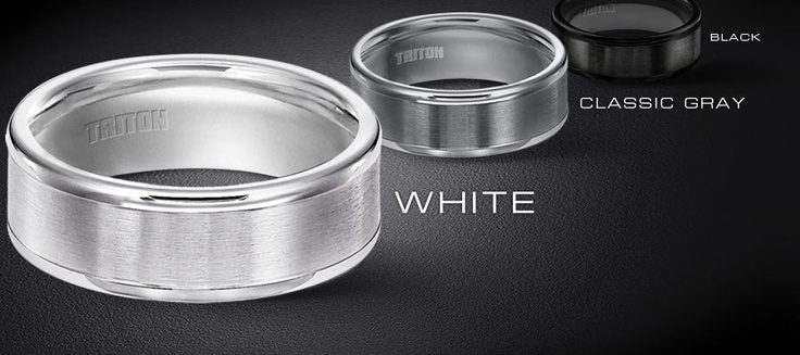 Triton Tungsten Carbide wedding bands come in White, Grey and Black, and now a new combination of Black and White Tungsten, let your man stand out!