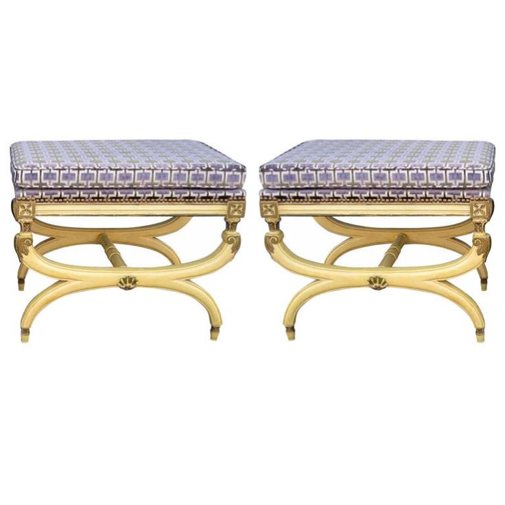 View this item and discover similar stools for sale at - Pair of Regency French X benches this ottoman is reupholstered with natural nailheads ...  sc 1 st  Pinterest & 84 best benches u0026 stools u0026 poufs images on Pinterest | Poufs ... islam-shia.org