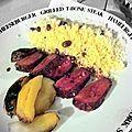 #265 - magrets de canard au miel et aux épices, pomme fruit cuite, le tout au barbecue et semoule aux raisins