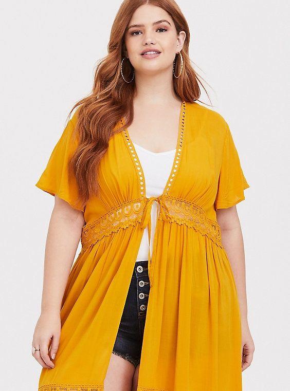 f535ed7720836d Yellow Crochet Kimono | P L U S S I Z E F A S H I O N | Kimono ...