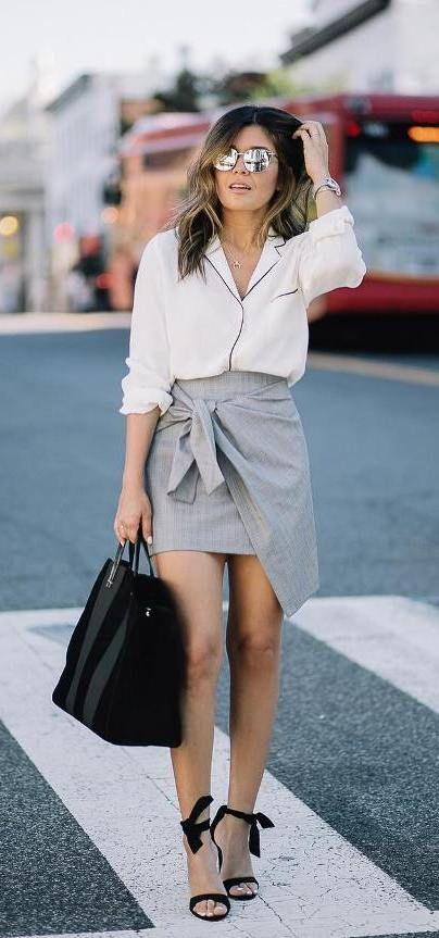 Pajama shirt with wrap skirt