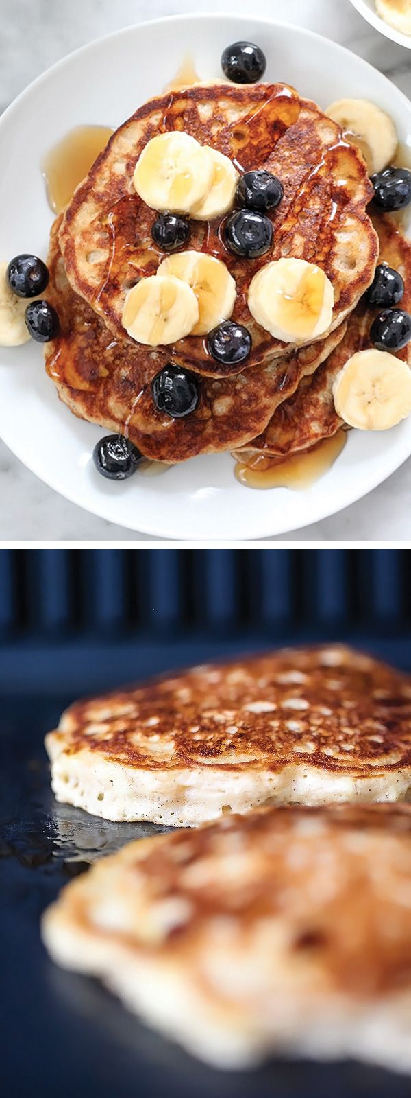 The Best Banana Pancakes made healthier with oats added in | foodiecrush.com