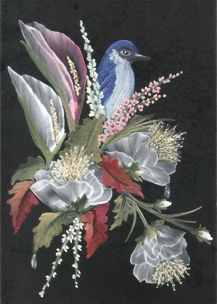 floral bird scene