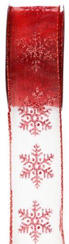 Nastro decorativo rosso fiocchi di neve: perfetto per chiudere i tuoi pacchi dono natalizi! Un'idea originale? Usalo anche sulla tua tavola delle feste per aggiungere un tocco di colore in più!