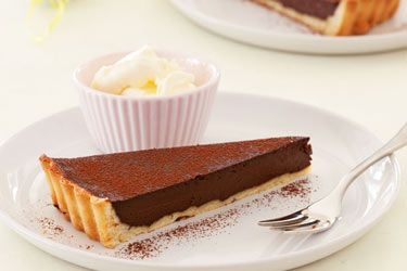 Chocolate tart. Chocolate tarts can be stored in the fridge for several days, making them the perfect dessert to prepare ahead of time for dinner parties.