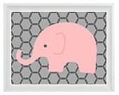 Elephant Nursery Print - Twins Art Mom Dad Babies Family Pink Aqua Gray Decor - Children Kid Baby Room - Wall Art Home Decor 8x10 Print. $15.00, via Etsy.