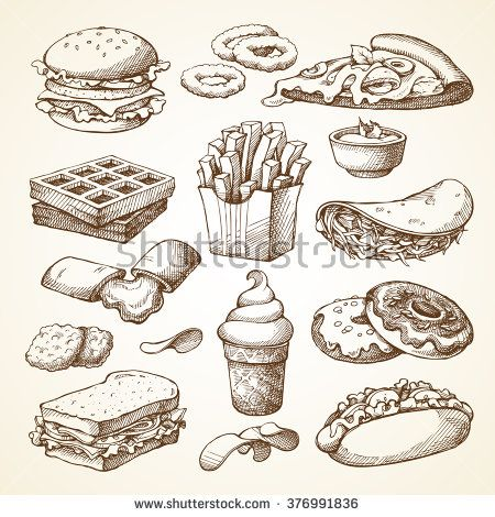 Set with fast food illustration. Sketch vector illustration. Fast food restaurant, fast food menu. Hamburger, hot dog, sandwich, snacks, waffles, pizza, french fries, ice cream, donuts, burger, sauce