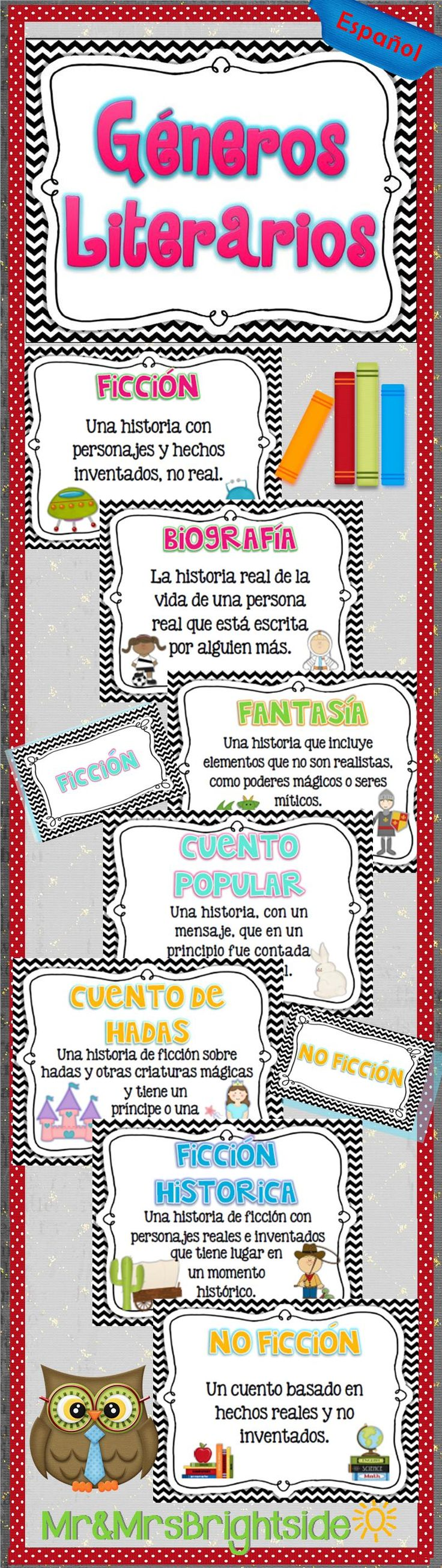Generos Literarios - reading genres in Spanish posters. Includes : no ficcion, cuento popular, autobiografia, biografia, ficcion historica, poesia, ciencia ficcion, fantasia, ficcion, misterio, cuento de hadas, mito, y leyenda. For bilingual and dual language classrooms.
