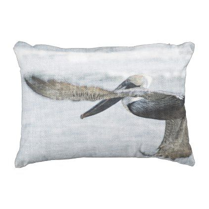 Pelican Pelicans Ocean Blue Brown Outdoor Pillow - ocean side nature waves freedom design