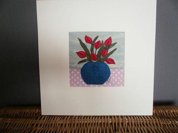 Tulips. Original Textile Art.