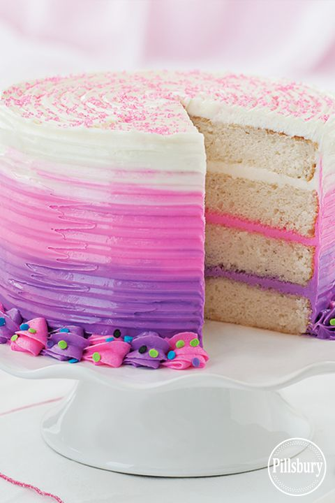 Bold Pink and Purple Ombre Cake from Pillsbury® Baking