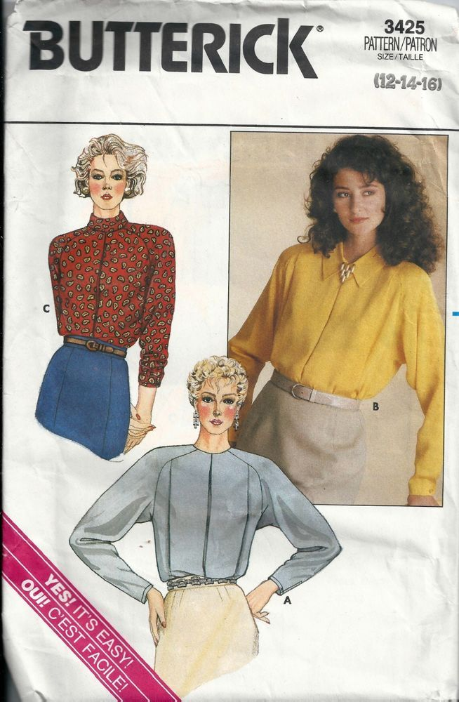 Butterick Shirt/Blouse Sewing Pattern Sizes 12 to 16 Vintage 3425