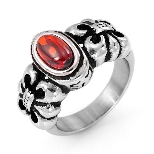 JewelryWe Vintage Style Stainless Steel Red Resin Celtic Fleur de Lis Ring Biker Mens Engagement Wedding Band Jewelrywe,http://www.amazon.com/dp/B00F5GONSY/ref=cm_sw_r_pi_dp_EhGatb0ABHMT6TZS