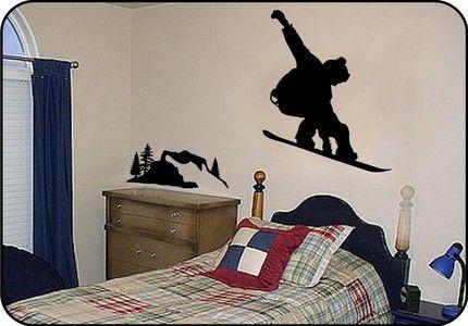 Large SNOWBOARDING Vinyl Wall Decals Stickers on Burton snowboard | TouchofVinyl - Housewares on ArtFire