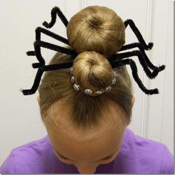 Giant spider hairstyle - so fun and creative for Halloween or crazy hair day!