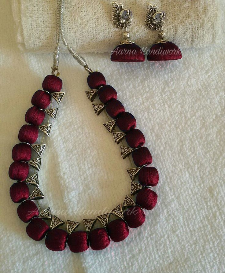 Maroon Beads with Bails Set
