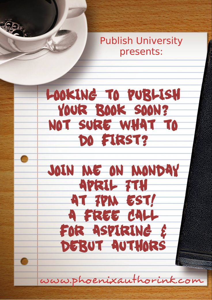 Register for the Free call on April 7, 2014 for aspiring and debut authors about successfully launching your business as a published author! https://docs.google.com/forms/d/1ZEvA5dUORXrHMKjmKLi5AaZPedR5B86EWG_0Mgi86rA/viewform