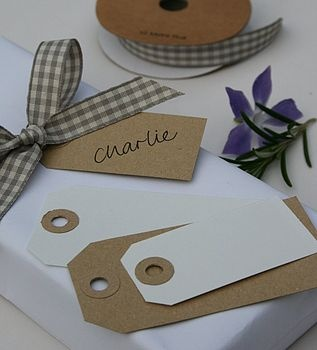 simple tags with ribbon - for linen closet storage?
