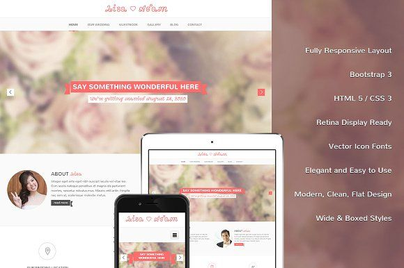 Lisa Bootstrap Responsive Template With Images Templates Web