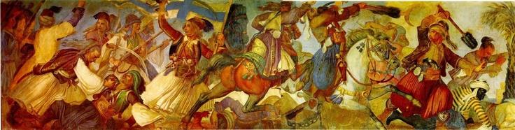 """""""Επανάσταση των Ελλήνων εναντίον των Τούρκων"""". Το 1836 ανατέθηκε στον Λούντβιχ Σβαντχάλερ η εικονογράφηση των αιθουσών του Ανακτόρου του Όθωνα στην Αθήνα με θέματα από την πρόσφατη τότε ελληνική ιστορία. Τα θέματα του Σβαντχάλερ σχεδιάστηκαν για την μεγάλη τοιχογραφία-ζωφόρο στην Αίθουσα των Τροπαίων του Ανακτόρου, σημερινή Αίθουσα Ελευθερίου Βενιζέλου στο Μέγαρο του Ελληνικού Κοινοβουλίου. Τα σχέδια του Βαντχάλερ υλοποιήθηκαν από ομάδα Γερμανών ζωγράφων."""