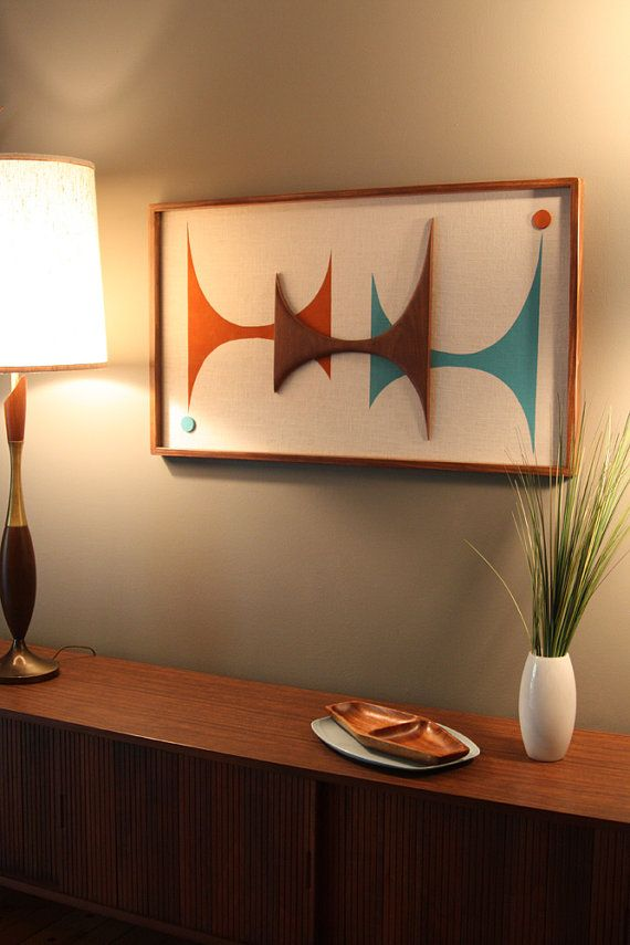 Mid Century Danish Modern Atomic Witco Styled Wall Art