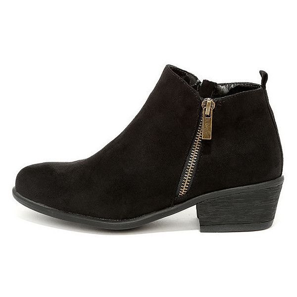 Wander My Way Black Suede Ankle Booties ($34) ❤ liked on Polyvore featuring shoes, boots, ankle booties, ankle boots, black, short suede boots, suede bootie, suede boots and short boots