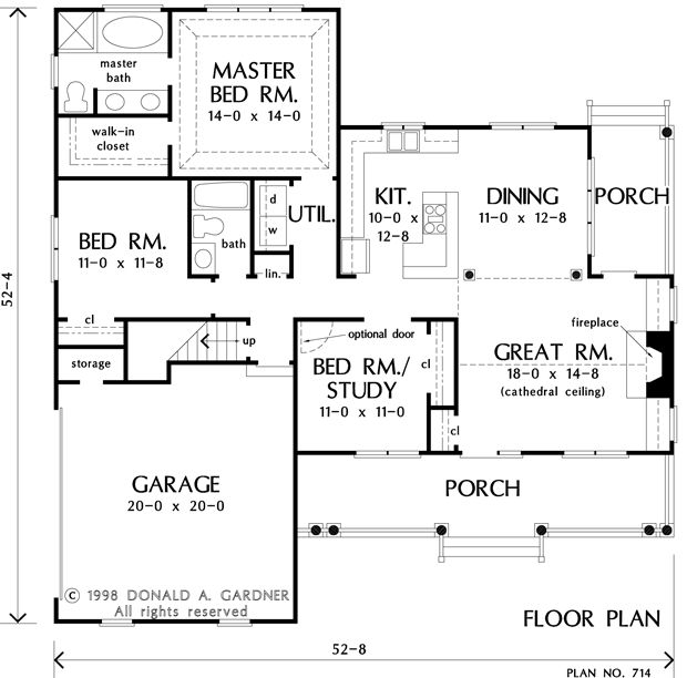 Floorplan The Huntington House Plan 714 Under 1500 Sq